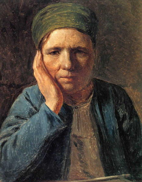 A Peasant Woman, Resting on Her Hand, 1827 by Alexey Venetsianov (1780-1847, Russia)