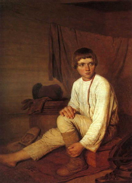 Peasant Boy Putting on Bast Sandals, Oil On Canvas by Alexey Venetsianov (1780-1847, Russia)