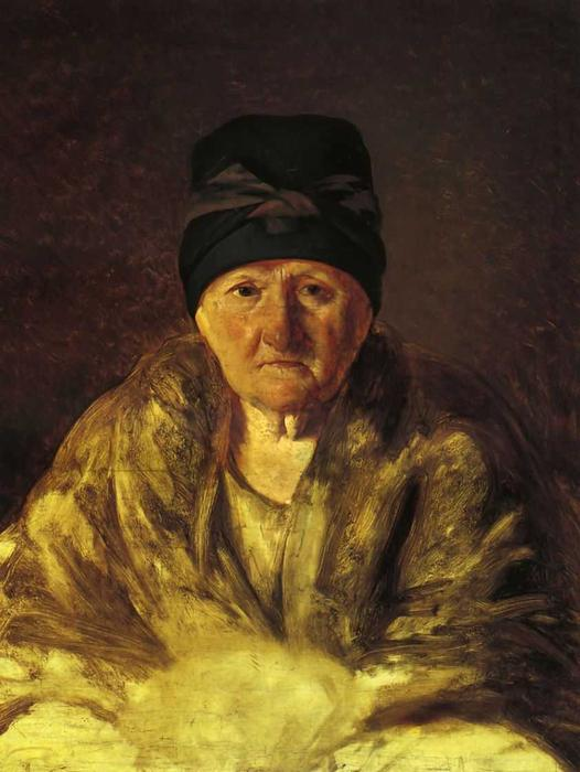 Old Nurse in Shlychkov, Oil On Canvas by Alexey Venetsianov (1780-1847, Russia)