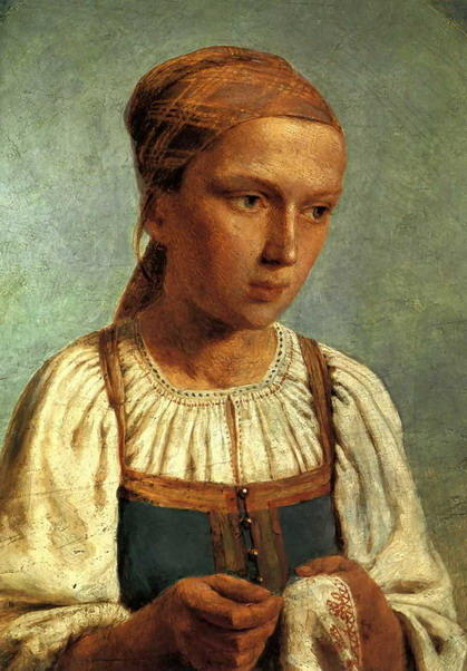 A Peasant Girl with Embroidery, 1843 by Alexey Venetsianov (1780-1847, Russia)