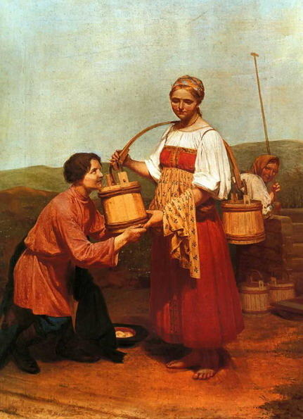 Meeting at the Well, 1843 by Alexey Venetsianov (1780-1847, Russia)