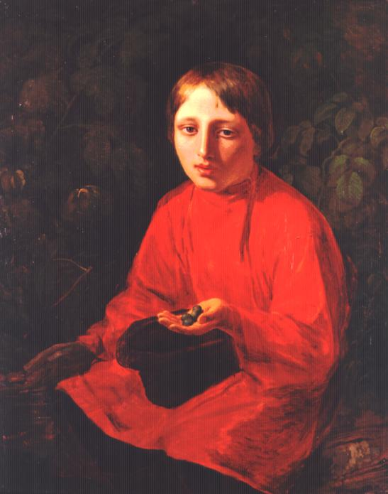 A Boy in a Red Shirt, Oil On Canvas by Alexey Venetsianov (1780-1847, Russia)