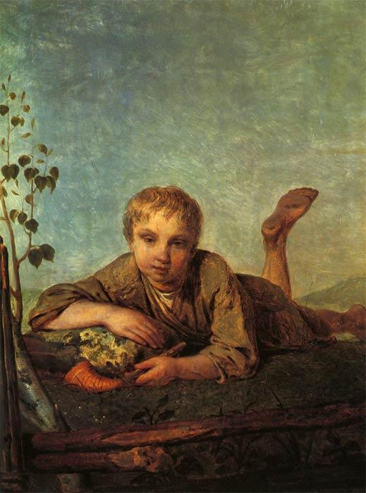 A Herd-Boy with a Pipe, Oil On Canvas by Alexey Venetsianov (1780-1847, Russia)