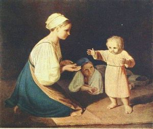 Alexey Venetsianov - First Steps (Peasant Woman with child)