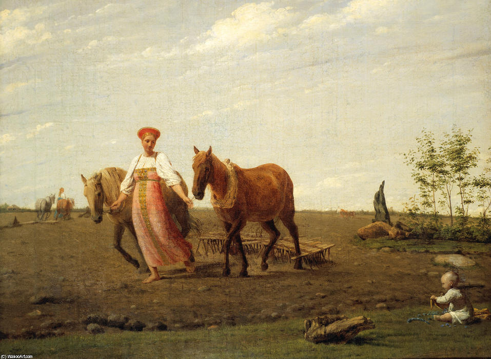 In the Fields. Spring, Oil On Canvas by Alexey Venetsianov (1780-1847, Russia)