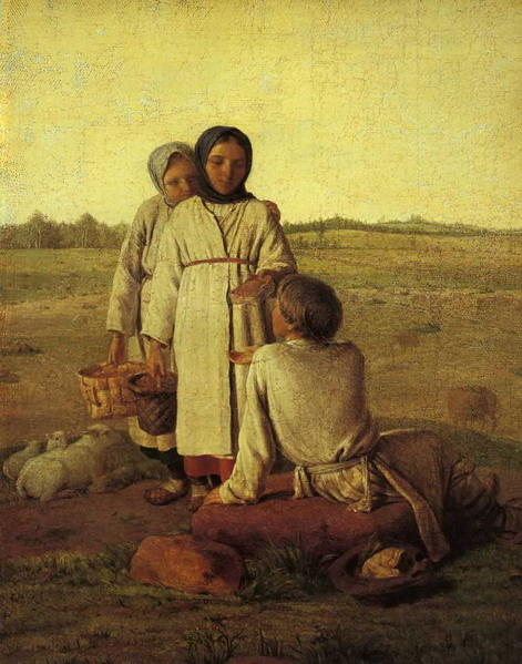 Peasant Children in the Field, Oil On Canvas by Alexey Venetsianov (1780-1847, Russia)