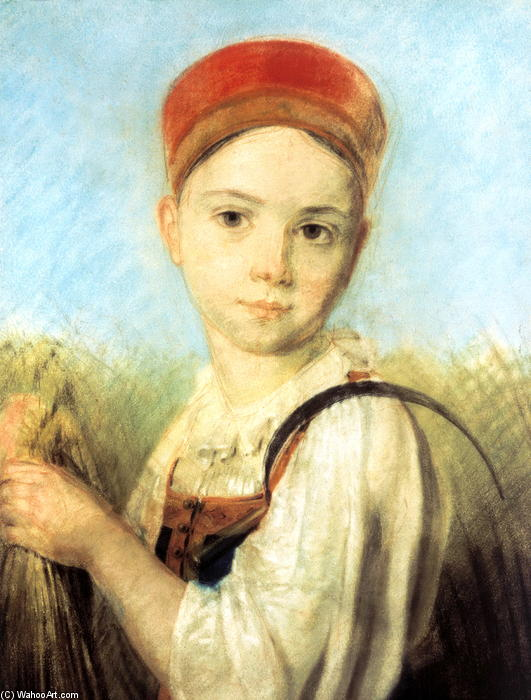 Peasant Girl with a Sickle in the Rye by Alexey Venetsianov (1780-1847, Russia) | Museum Quality Reproductions | ArtsDot.com