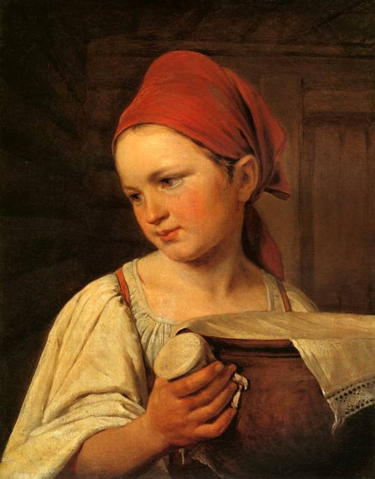 Peasant Woman with Milk by Alexey Venetsianov (1780-1847, Russia) | Museum Quality Copies Alexey Venetsianov | ArtsDot.com