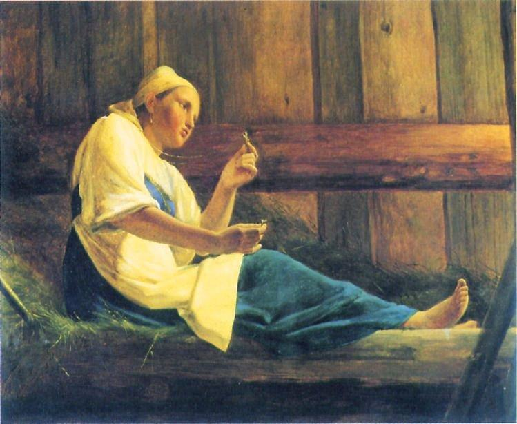 The Girl in the Hayloft by Alexey Venetsianov (1780-1847, Russia)