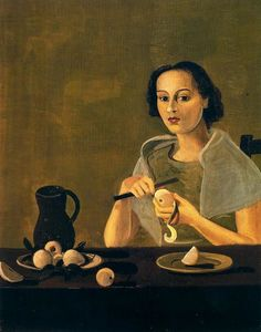 André Derain - The girl cutting apple