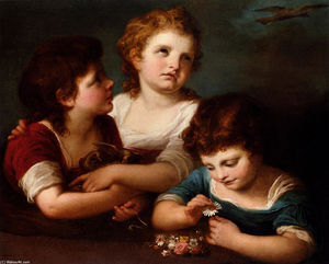 Angelica Kauffman (Maria Anna Angelika) - Children with a bird-s nest and flowers