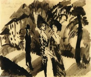 August Macke - Two Women and a Man on an Avenue