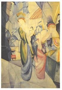 August Macke - Bright woman in front of a hat store