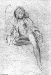Balthus (Balthasar Klossowski) - Study for the painting --Nude Resting--