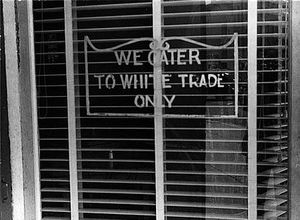 Benjamin Shahn - Sign on a restaurant We Cater to White Trade only