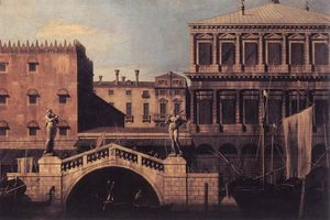 Giovanni Antonio Canal (Canaletto) - Capriccio: The Ponte della Pescaria and Buildings on the Quay