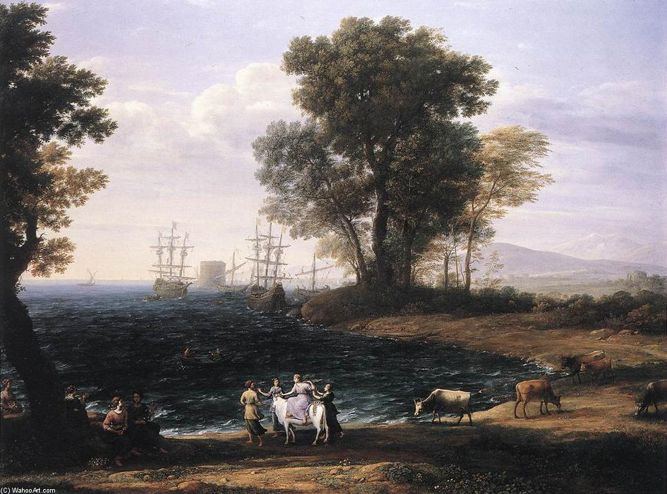 Coast Scene with the Rape of Europa, Oil On Canvas by Claude Lorrain (Claude Gellée)