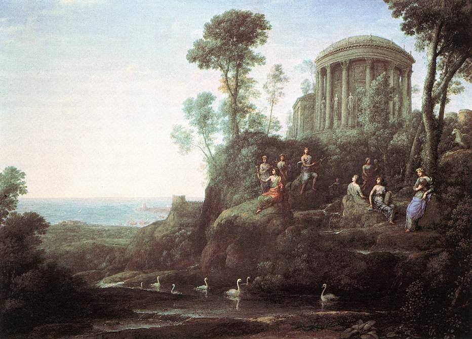 Apollo and the Muses on Mount Helicon, Oil On Canvas by Claude Lorrain (Claude Gellée)