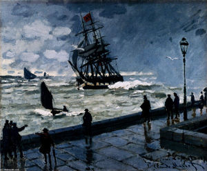 Claude Monet - The Jetty at Le Havre, Bad Weather
