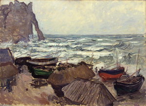 Claude Monet - Fishing Boats on the Beach at Etretat