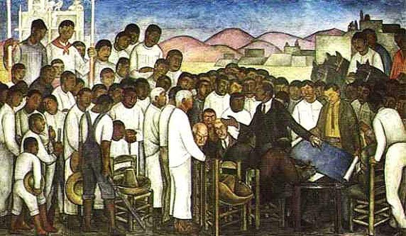 Partition of the Land., Frescoes by Diego Rivera (1886-1957, Mexico)