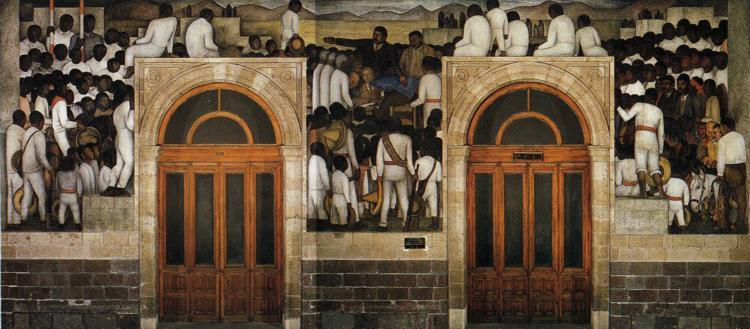 The Festival of The Distribution of The Land, Frescoes by Diego Rivera (1886-1957, Mexico)