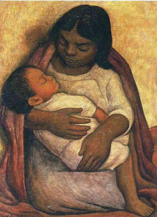 Delfina and Dimas, Oil On Canvas by Diego Rivera (1886-1957, Mexico)