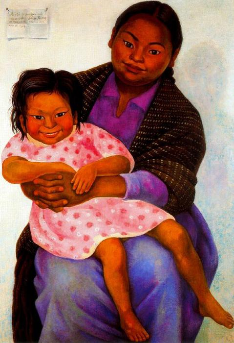 Portrait of Madesta and Inesita, Oil On Canvas by Diego Rivera (1886-1957, Mexico)