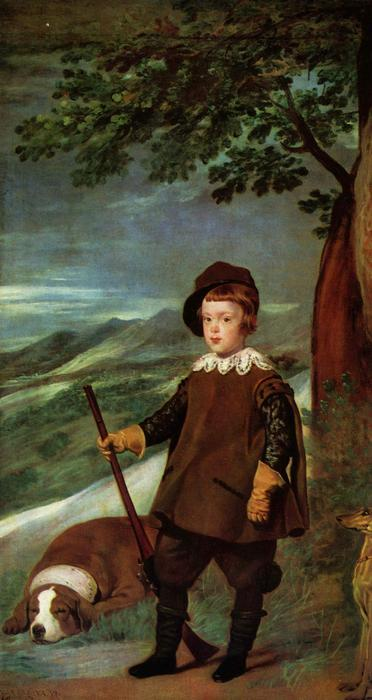 Prince Balthasar Carlos dressed as a Hunter, Oil On Canvas by Diego Velazquez (1599-1660, Spain)