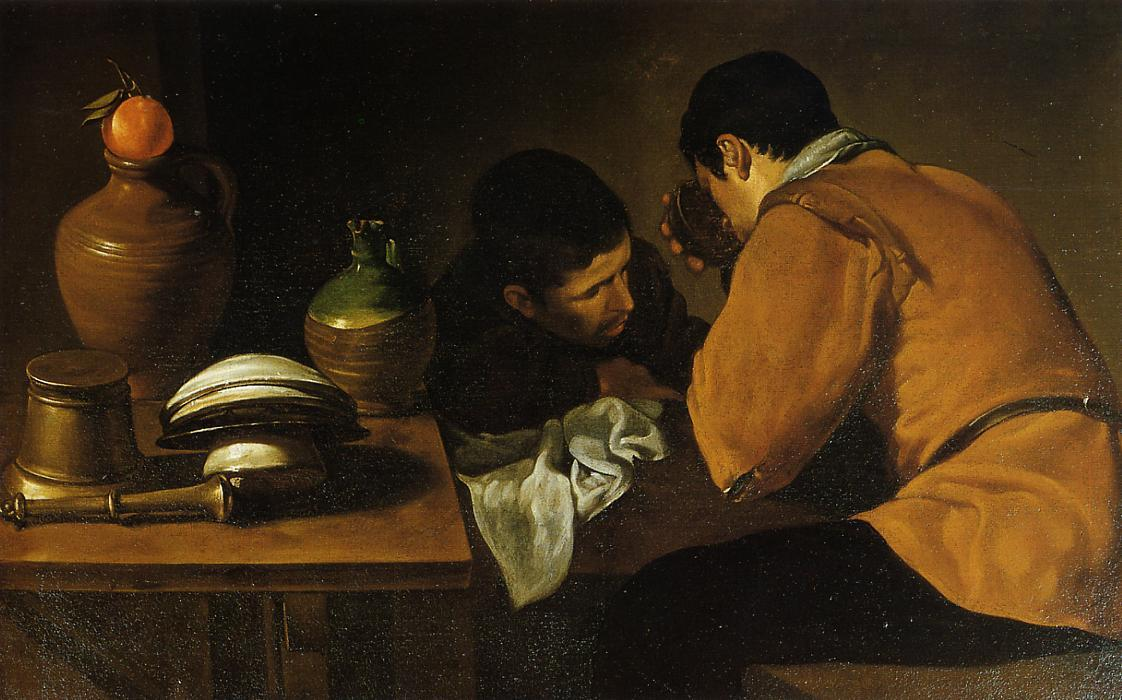 Two Young Men Eating At A Humble Table, Oil On Canvas by Diego Velazquez (1599-1660, Spain)