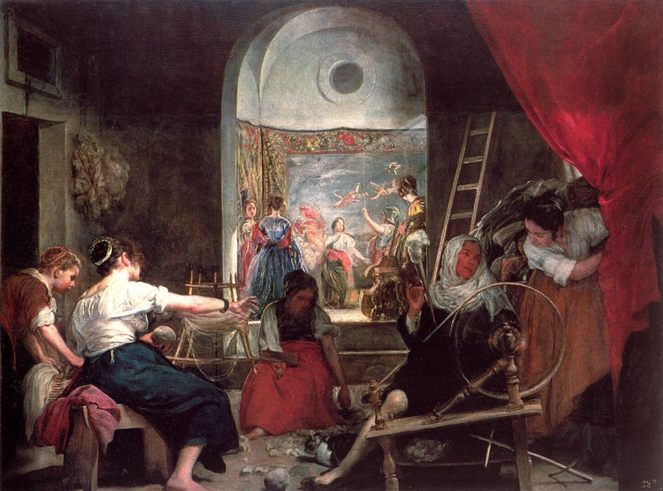 The Fable of Arachne, or The Spinners, Oil On Canvas by Diego Velazquez (1599-1660, Spain)