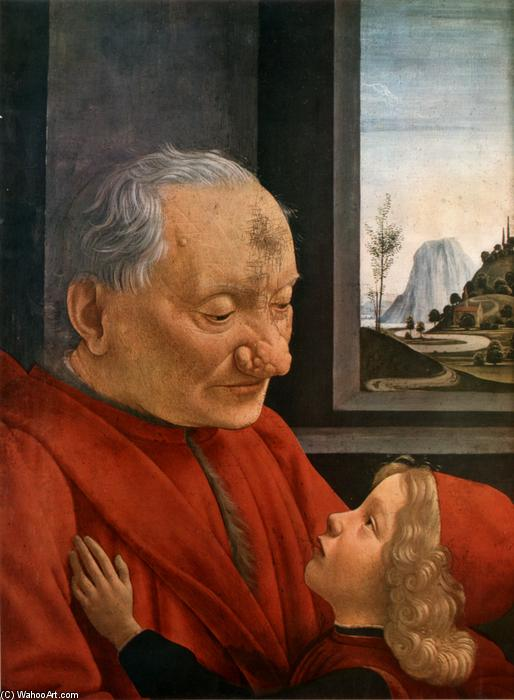 Old Man with a Young Boy, Tempera by Domenico Ghirlandaio (1449-1494, Italy)