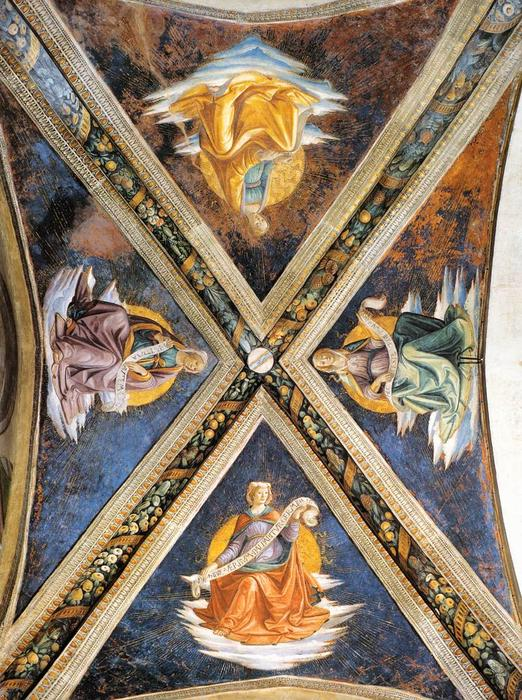 Vaulting of the Sassetti Chapel, Frescoes by Domenico Ghirlandaio (1449-1494, Italy)