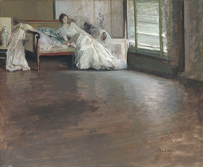 Across the Room, Oil On Canvas by Edmund Charles Tarbell (1862-1938, United States)