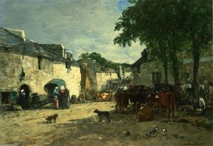Eugène Louis Boudin - Cattle market at Daoulas, Brittany