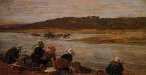 Eugène Louis Boudin - Laundresses on the Banks of the Touques (The Effect of Fog)