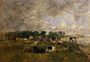 Eugène Louis Boudin - Cows in the Fields