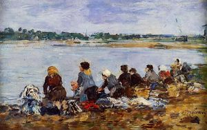 Eugène Louis Boudin - Laundresses on the Banks of the Touques (8)
