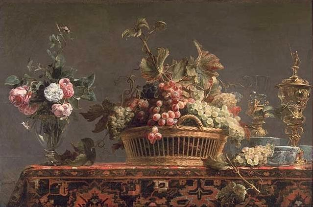 Grapes in a basket and roses in a vase by Frans Snyders (1579-1657, Belgium) | Reproductions Frans Snyders | ArtsDot.com