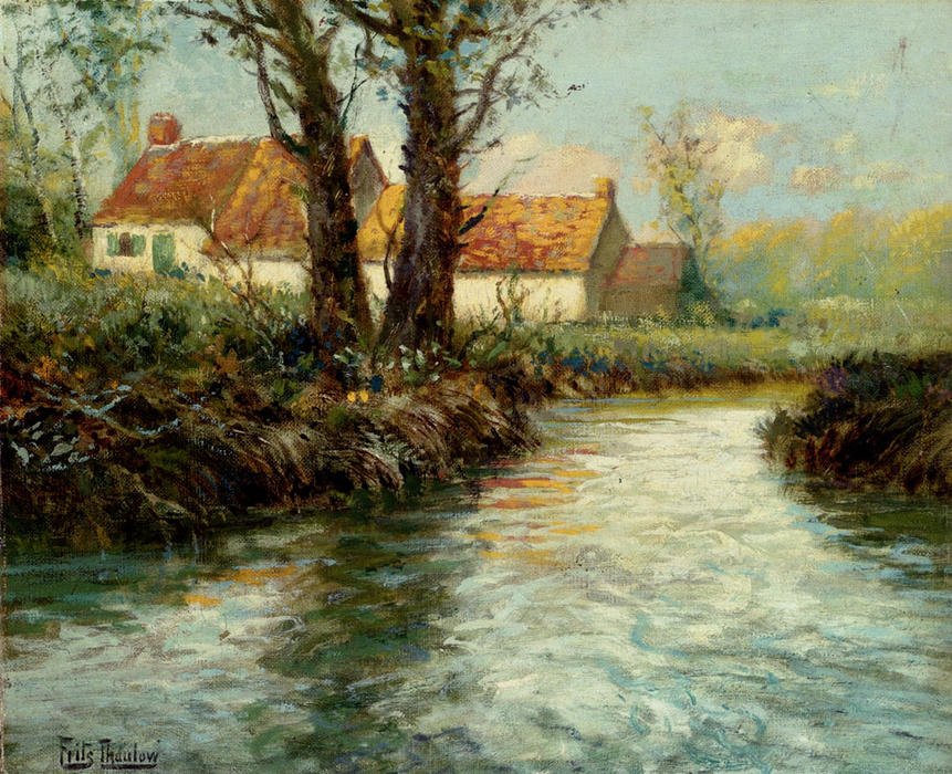 House by yhe Water's Edge, Oil On Canvas by Frits Thaulow (1847-1906, Norway)