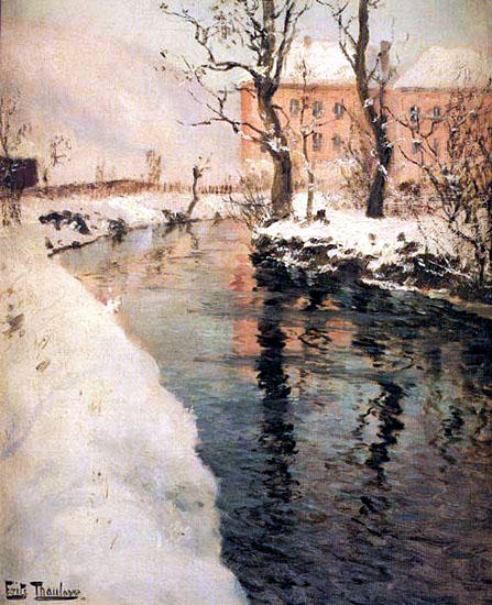 A River in the Winter by Frits Thaulow (1847-1906, Norway)