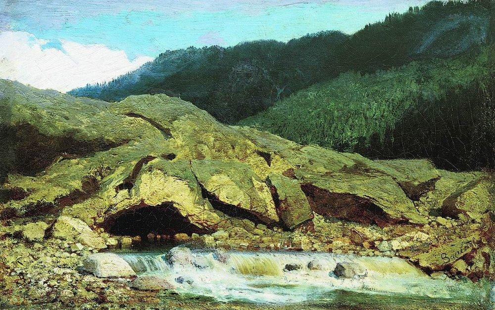 Landscape with a Rock and Stream, 1867 by Fyodor Alexandrovich Vasilyev (1850-1873, Russia)