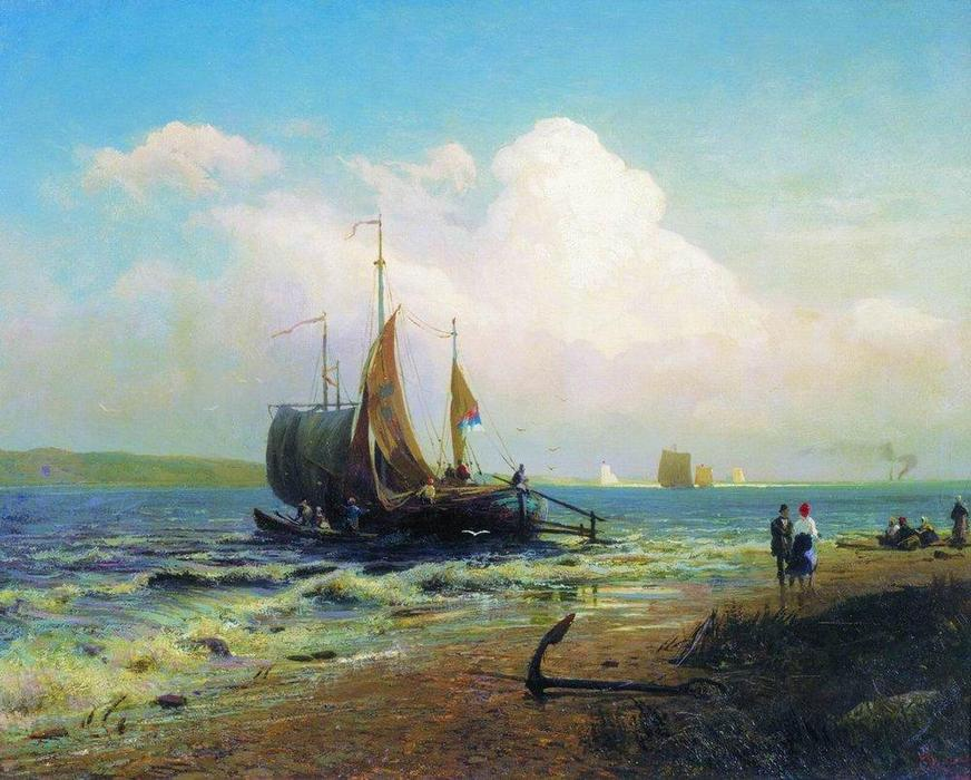 At the River. Windy Day, 1869 by Fyodor Alexandrovich Vasilyev (1850-1873, Russia)