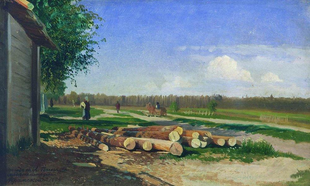 Logs by the Road, Oil by Fyodor Alexandrovich Vasilyev (1850-1873, Russia)