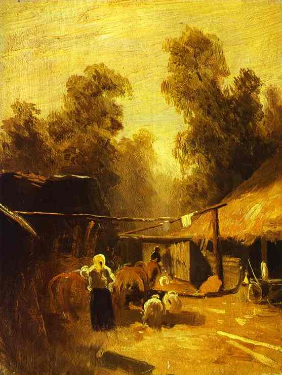 Morning in a Village, Oil On Canvas by Fyodor Alexandrovich Vasilyev (1850-1873, Russia)