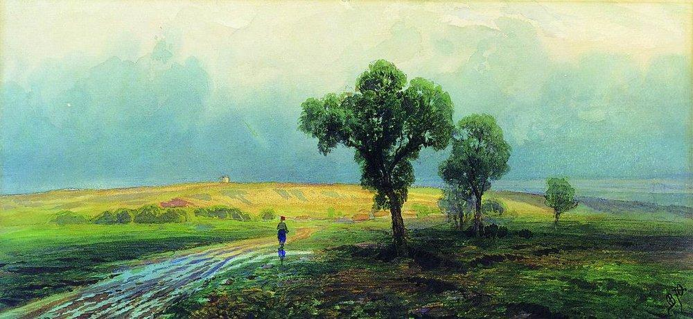 After a Heavy Rain, Watercolour by Fyodor Alexandrovich Vasilyev (1850-1873, Russia)