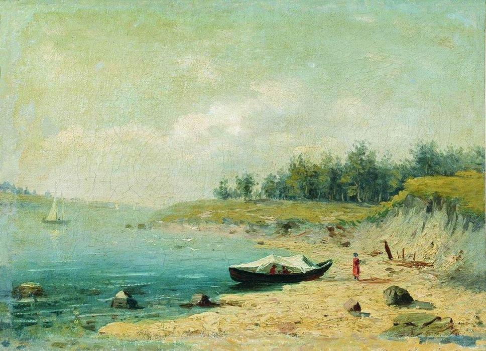 On the Bank of the Volga, 1870 by Fyodor Alexandrovich Vasilyev (1850-1873, Russia) | Oil Painting | ArtsDot.com