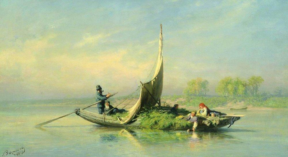 Peasant Family in a Boat, 1870 by Fyodor Alexandrovich Vasilyev (1850-1873, Russia) | Museum Art Reproductions | ArtsDot.com