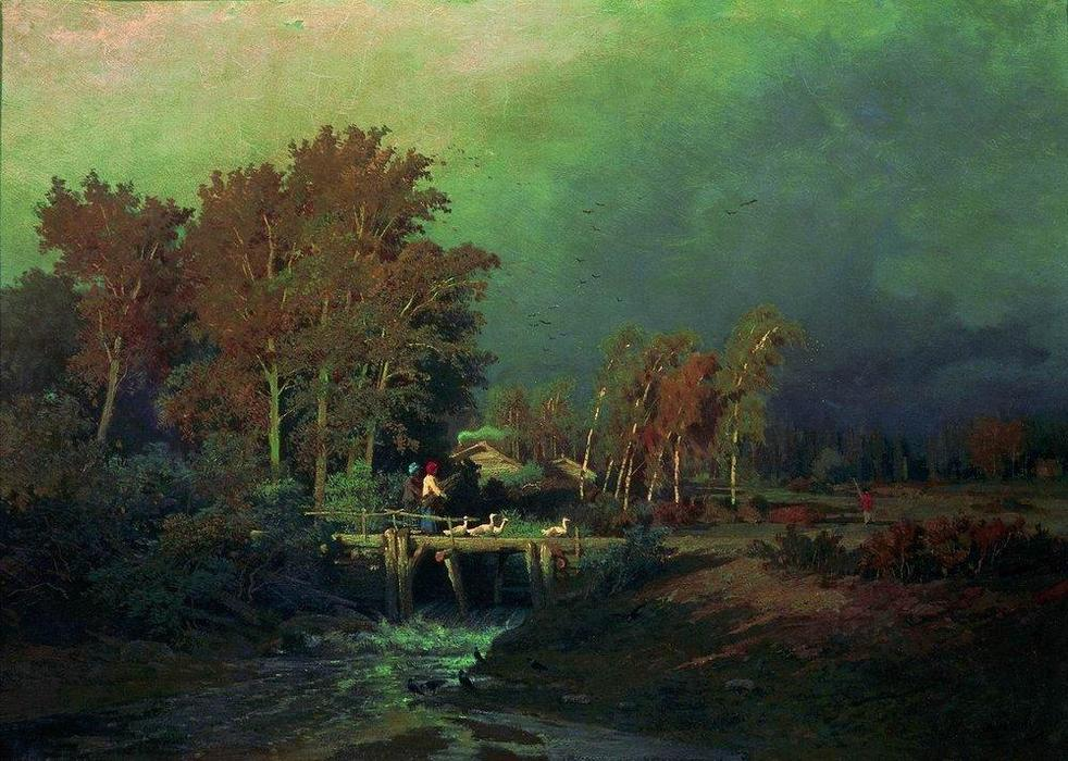 Before the Rain, Oil On Canvas by Fyodor Alexandrovich Vasilyev (1850-1873, Russia)