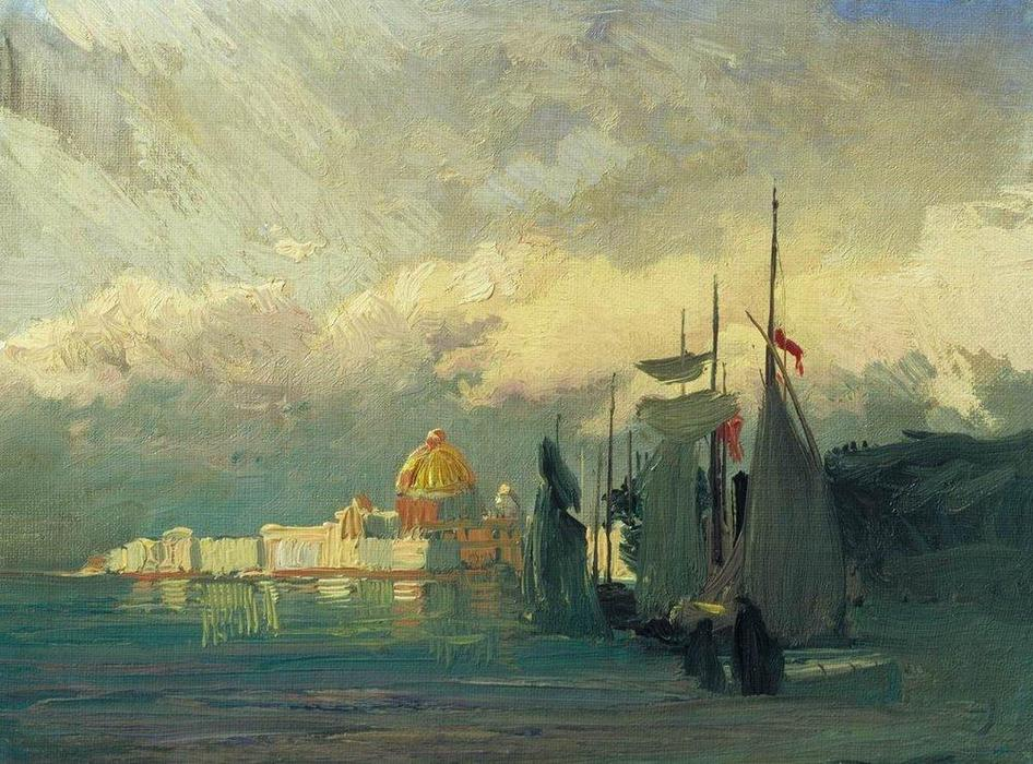 On the Neva, 1871 by Fyodor Alexandrovich Vasilyev (1850-1873, Russia) | Museum Quality Reproductions | ArtsDot.com